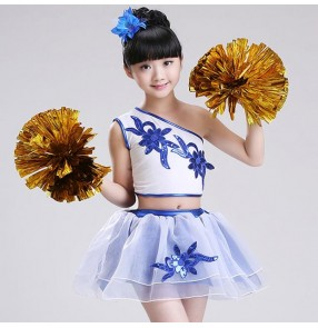 Kids jazz dance costumes for boys girls modern dance hiphop cheer leaders school competition fitness exercises aerobics stage performance outfits